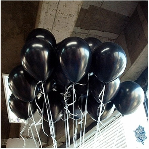 25 adet Mat Siyah Balon Helyumla Uçan (Helyumla Uçan)