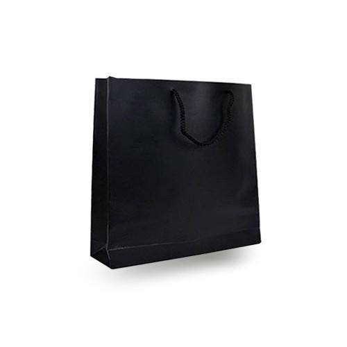 25 Adet Siyah Baskısız Hediyelik Minik Karton İp Saplı Çanta