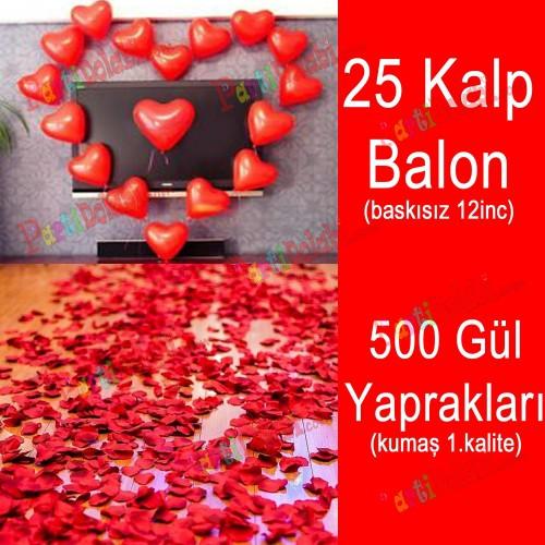 25 Kalp Balon + 500 Yapay Gül, Kalpli Balon ve Gül Yaprakları