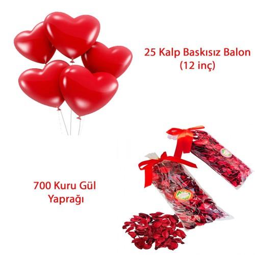 25 Kalp Balon + 700 Kuru Gül, Kalpli Balon ve Gül Yaprakları