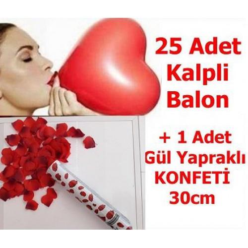 Sevgiliye Sürpriz Doğum Günü 25 Kalp Balon + 30 cm Gül Konfeti