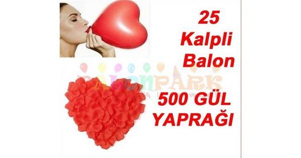 25 Kalp Balon Kırmızı 500 Gül Yaprağı Romantik Aşk Paketi Süsleme