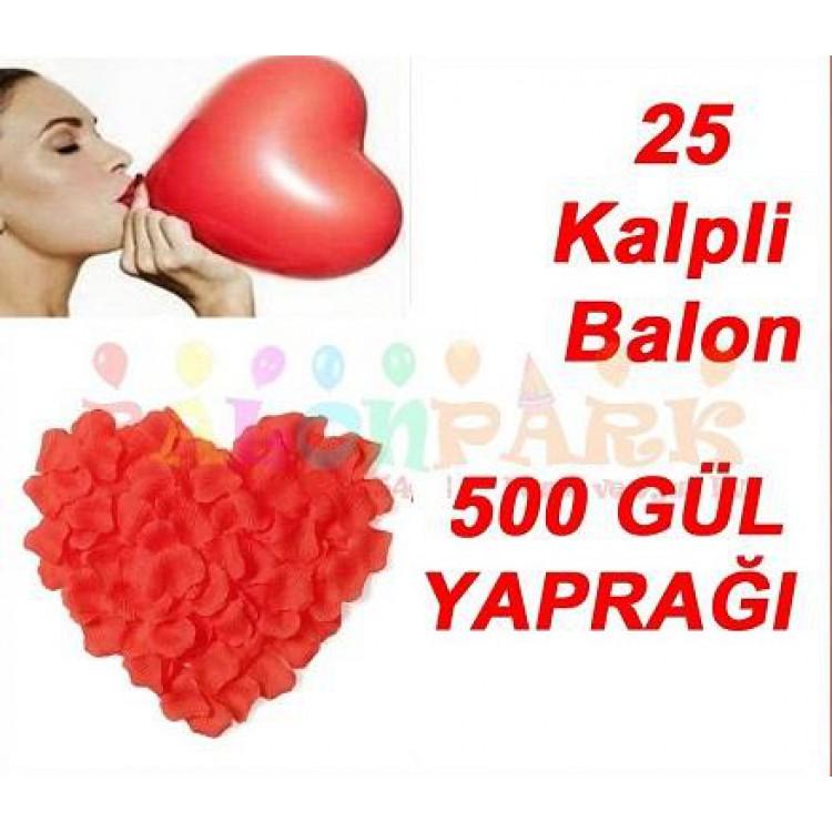 25 Kalp Balon Kirmizi 500 Gul Yapragi Romantik Ask Paketi Susleme