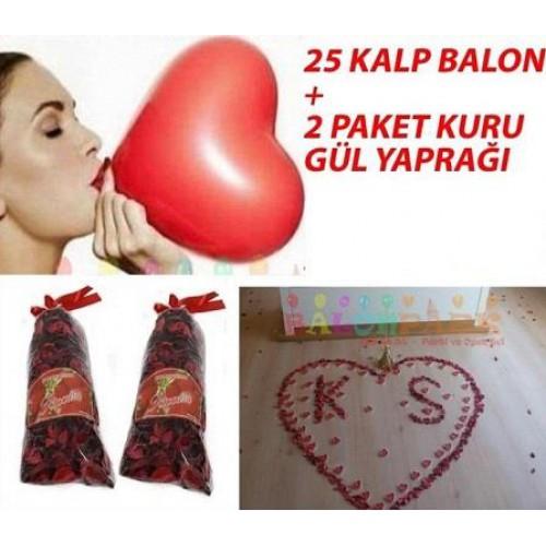 25 Kalpli Balon,700 Gül yaprağı sevgiliye hediye sevgililer günü sepeti