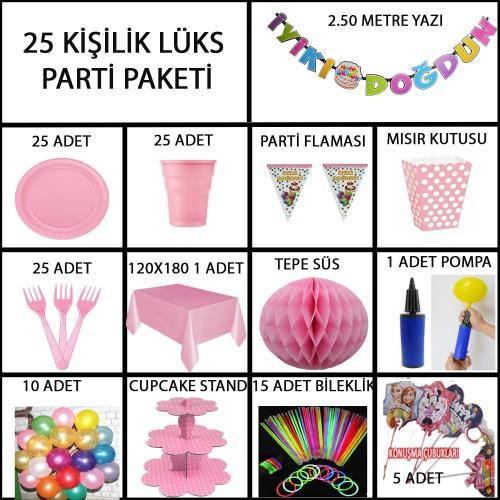 25 kişi Pembe Kız Doğum Günü Paketi Parti Malzemeleri Ev Bahçe Süsleri