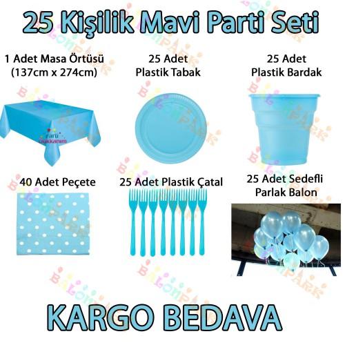 25 Kişilik Açık Bebek Mavisi Doğum Günü Parti Malzemeleri Konsept Seti Süs