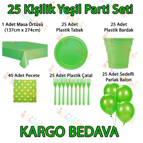 25 Kişilik Yeşil Doğum Günü Parti Malzemeleri Konsepti Süs Seti