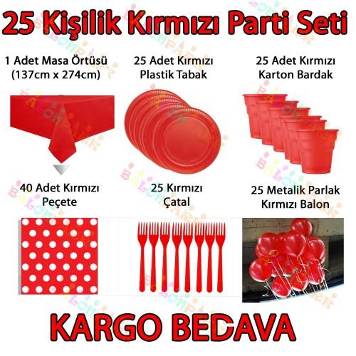 25 Kişilik Kırmızı Doğum Günü Parti Malzemeleri Konsept Seti Süs