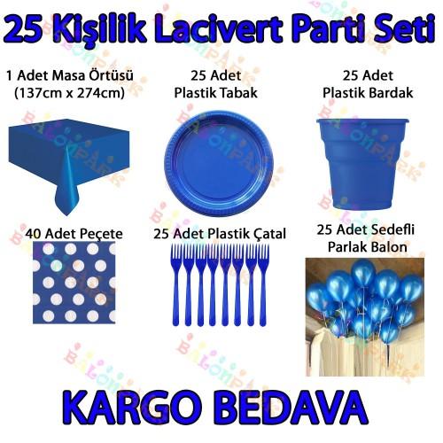 25 Kişi Koyu Mavi Lacivert Doğum Günü Parti Malzemeleri Konsepti