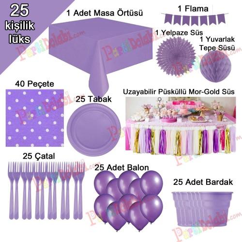 25 Kişilik Mor-Lila Doğum Günü Konsepti Parti Malzemeleri Paketi