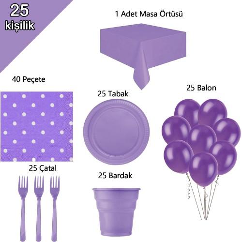 25 Kişilik Mor-Lila Konsepti, Doğum Günü Partisi Süsleme Seti