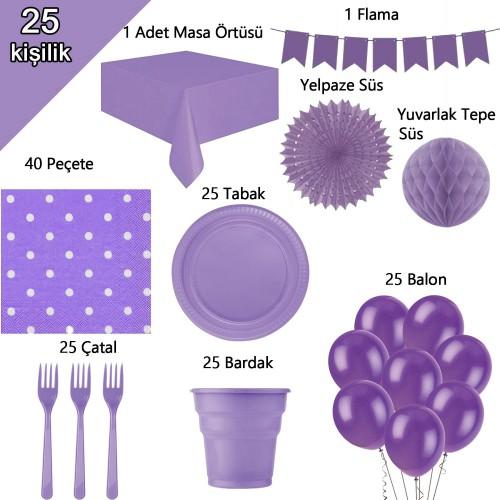 25 Kişilik Mor-Lila Parti Konsepti, Bardak Çatal Balon vb Paketi