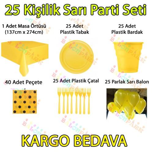 25 Kişilik Sarı Doğum Günü Parti Malzemeleri Konsepti Süs