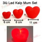 3 Adet Işıklı Kırmızı Kalp Mum 3D Dekoratif Romantik Hediyelik