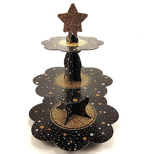 3 Katlı Işıltılı Siyah Karton Stand, Cupcake Kulesi Kek Standı