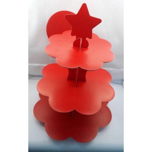 3 Katlı Kırmızı Karton Stand, Cupcake Kulesi Kek Standı