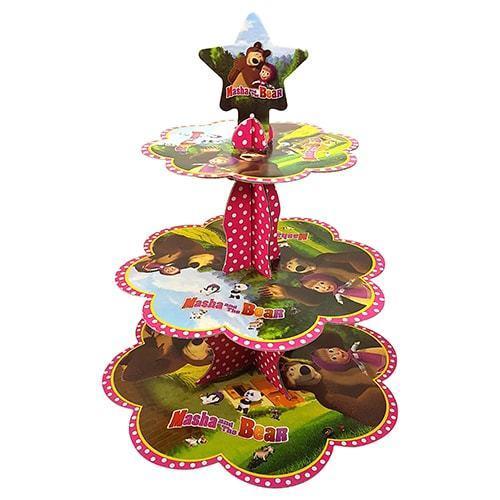 3 Katlı Maşa ile Koca Ayı Karton Stand, Cupcake Kulesi Kek Standı