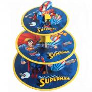 3 Katlı Superman Kek Standı, Karton Süpermen Cupcake Stand