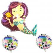 3lü Deniz Kızı Folyo Balon Seti, Konsept Doğum Günü Parti Süsleri
