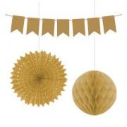 3 Parça Altın Sarsı (Gold) Yelpaze Süsleme Malzemeleri