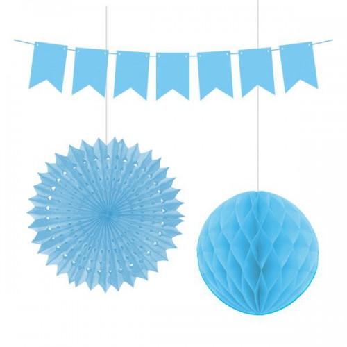 3 Parça Mavi Parti Konsepti Tepe Süsleme Malzemeleri