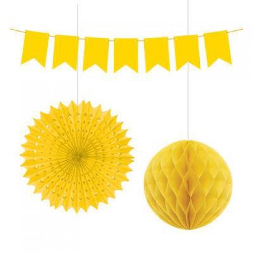 3 Parça Sarı(Civciv Sarısı) Parti Konsepti Süsleme Seti
