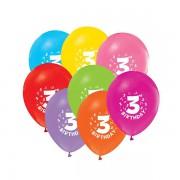 3 Yaş Baskılı 16lı Balon Happy Birthday Yazılı, Helyumla Uçan