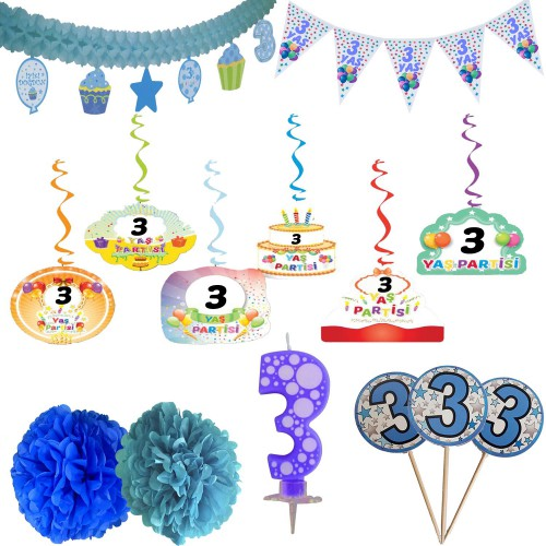 3 Yaş Erkek Doğum Günü Partisi Süslemeleri Seti