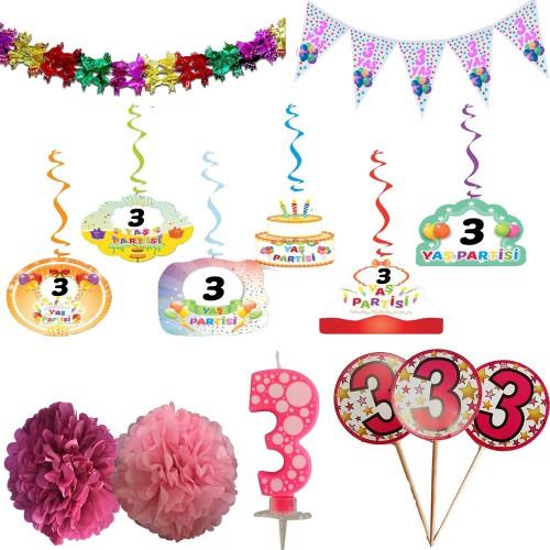 3 Yaş Kız Doğum Günü Partisi Süslemeleri Seti