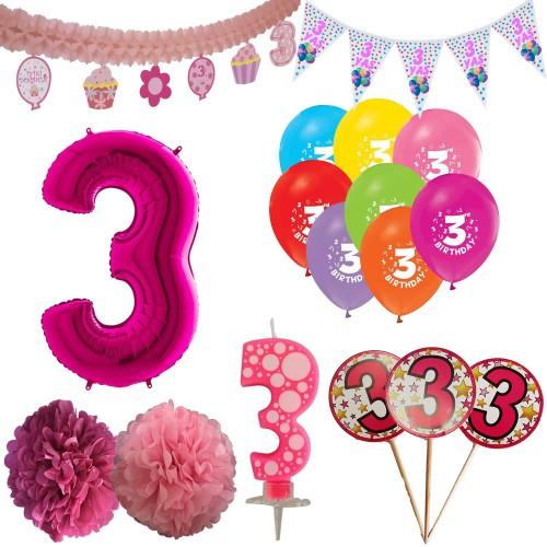 3 Yaş Kız Doğum Günü Süsleri Paketi