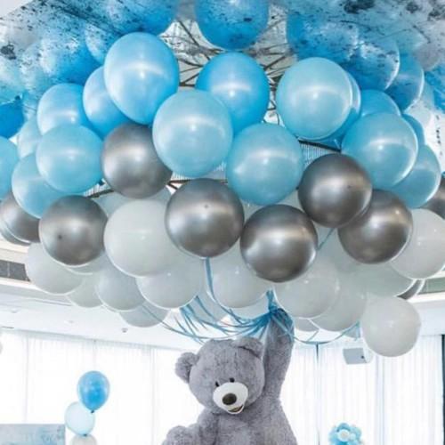30 Ad Metalik Parlak Açık Mavi Beyaz Gümüş Gri Karışık Renk Balon