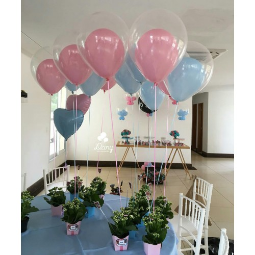 30 Adet Balon (Şeffaf, Pembe, Açık Mavi) Karışık Balon Helyumla Uçan