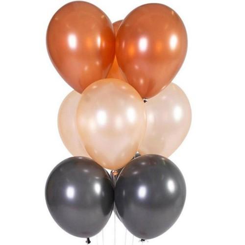 30 Adet Metalik Gold Rose-Bakır-Siyah Karışık Balon Helyumla Uçan
