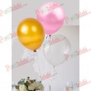 30 Adet Metalik Gold-Şeker Pembe-Şeffaf Balon, Helyumla Uçan