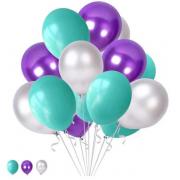 30 Adet Metalik Gümüş Gri-Mor-Mint Yeşili Balon Helyumla Uçan