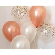 30 Adet Metalik Beyaz-Toz Pembe (Bakır)-Şeffaf Balon, Helyum Uçan