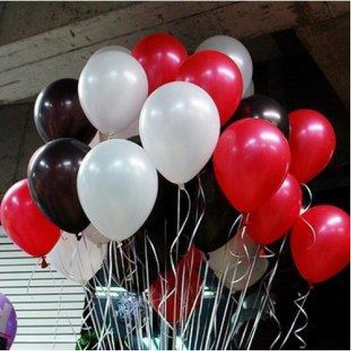 30 Adet Metalik Sedefli (Beyaz-Kırmızı-Siyah) Karışık Balon Helyumla Uçan