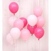 30 Adet Metalik Sedefli (Fuşya-Şeker Pembe-Beyaz) Karışık Balon