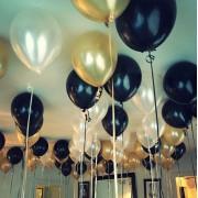 30 Adet Metalik Sedefli (Gold-Beyaz-Siyah) Karışık Balon Helyumla Uçan