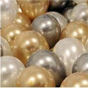 30 Adet Metalik Sedefli Gold-Gümüş Gri-Beyaz Balon, Helyumla Uçan