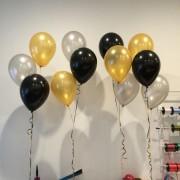 30 Adet Metalik Sedefli (Gold-Gümüş-Siyah) Karışık Balon Helyumla Uçan