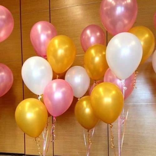 30 Adet Metalik Sedefli (Gold-Şeker Pembe-Beyaz) Karışık Balon Helyumla Uçan