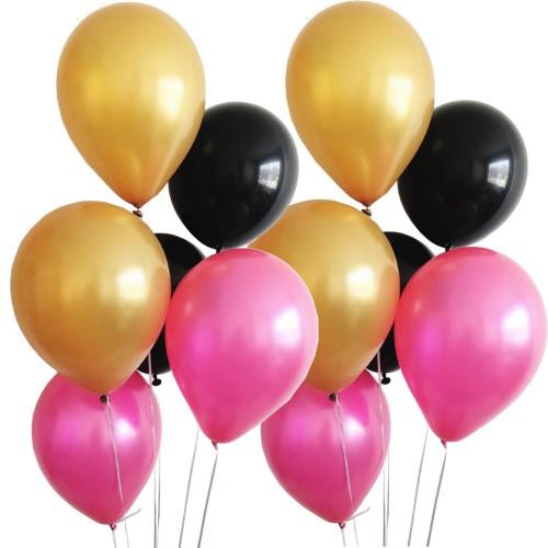 30 Adet Metalik Sedefli (Gold-Siyah-Fuşya) Karışık Balon