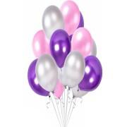 30 Adet Metalik Sedefli Mor-Pembe-Gümüş Gri Karışık Balon Helyum