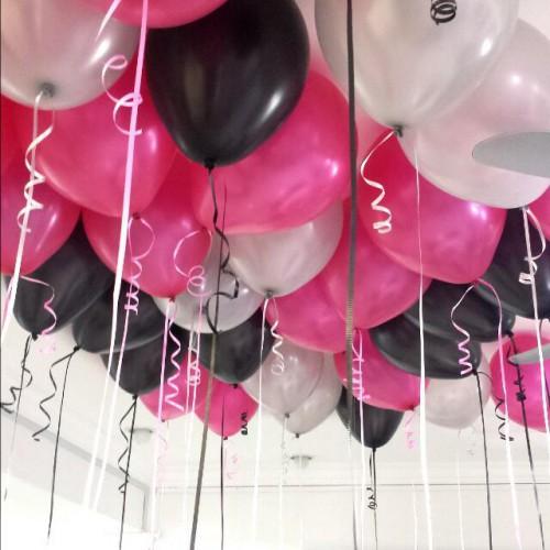 30 Adet Metalik Sedefli (Siyah-Fuşya-Gri) Karışık Balon Helyumla Uçan