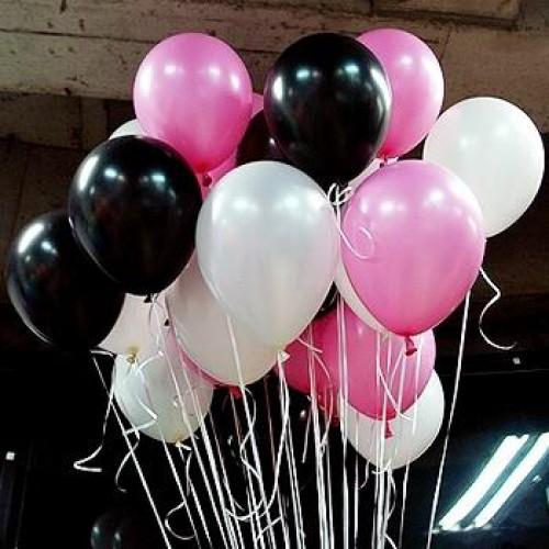 30 Adet Metalik Sedefli (Siyah-Beyaz-Şeker Pembe) Karışık Balon Helyumla Uçan