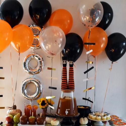 30 Adet Metalik Sedefli (Turuncu-Siyah-Şeffaf) Karışık Balon Helyumla Uçan
