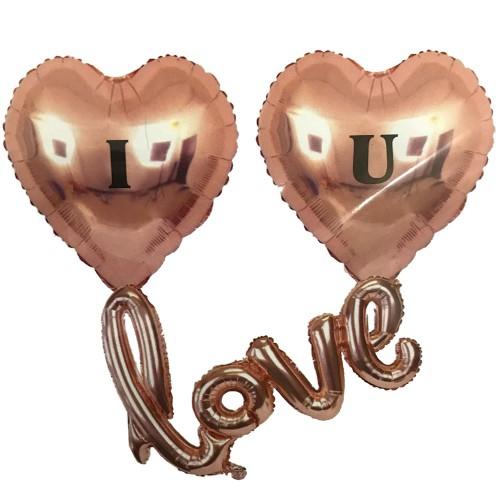 3lü Bakır Rengi Kalpli Uçan Balon Seti, I Love You Yazılı Folyo