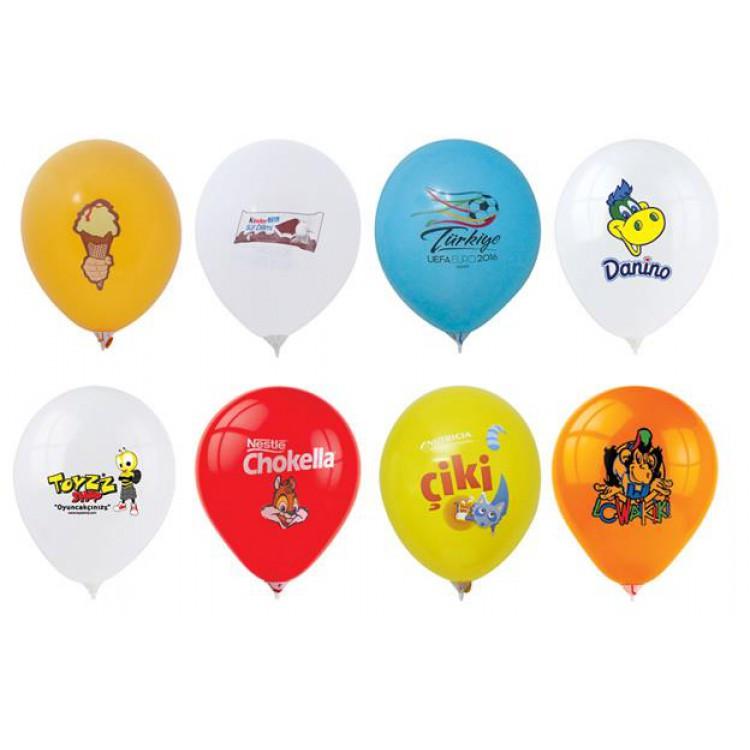 1000 Adet Baskılı Balon Logo 4 Renk Baskı Tek Taraf Balon