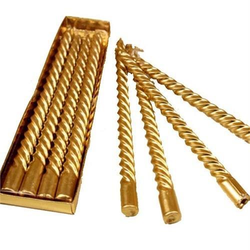 4 Adet Mat Gold Altın Rengi Burgulu Mum, 20cm Şamdan Mumu